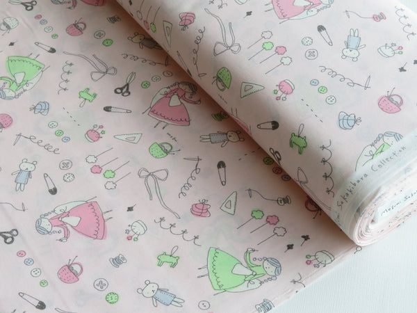 1/2  yard Megumi Sakakibara for Kei Fabric | Hand Drawn Doll Sewing | MS1804ET-A Pink | Japanese Import