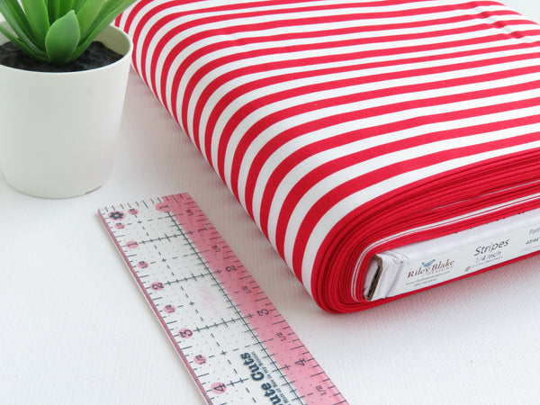 "1/2 yard Riley Blake Basic 1/4"" Stripe Red 