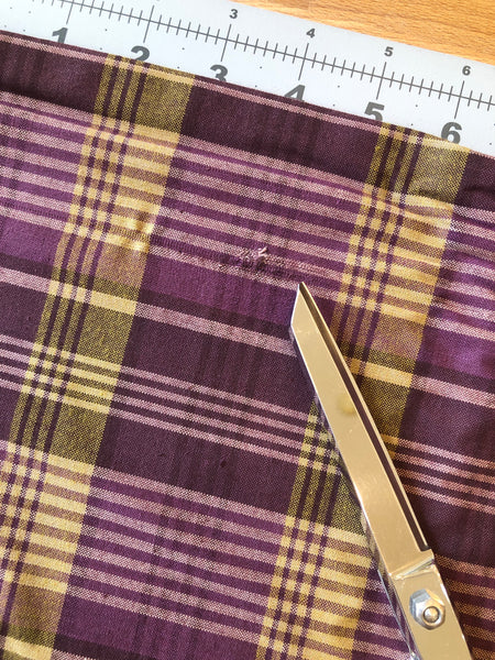 1 yard Manufacturer Defect Purple Large Plaid | Itty Bitty Crazy Yarn Dyes by One Sister Designs Collection from Henry Glass | # 2156Y-55 |