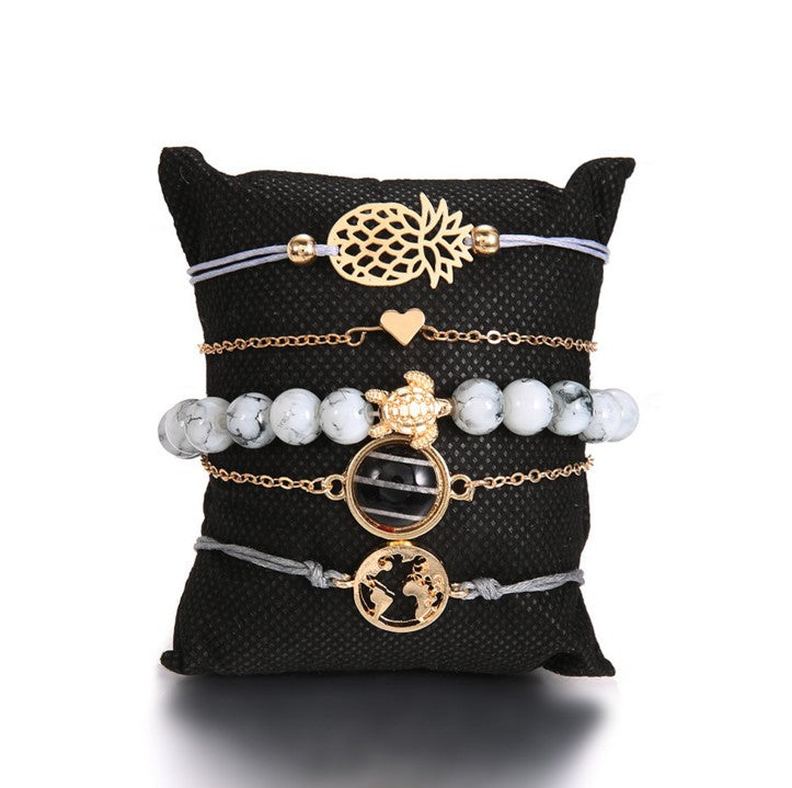 Braided bracelets European and American style pineapple love black beads