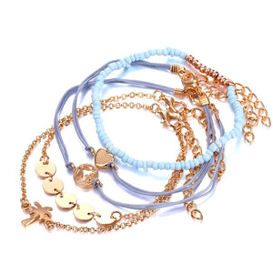 5 PCS/Set Fashion Heart Map Charm Bracelets