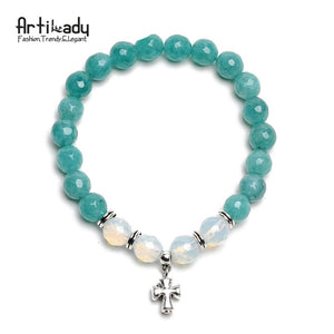 Artilady natural stone bead cross charm bracelet