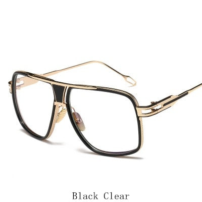 Oversized Men Sunglasses Brand Designer Women Flat Top Sun Glasses Square Point Male Mirror High Quality Five Style Female UV400
