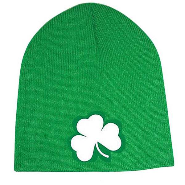Kelly Green Beanie with Shamrock