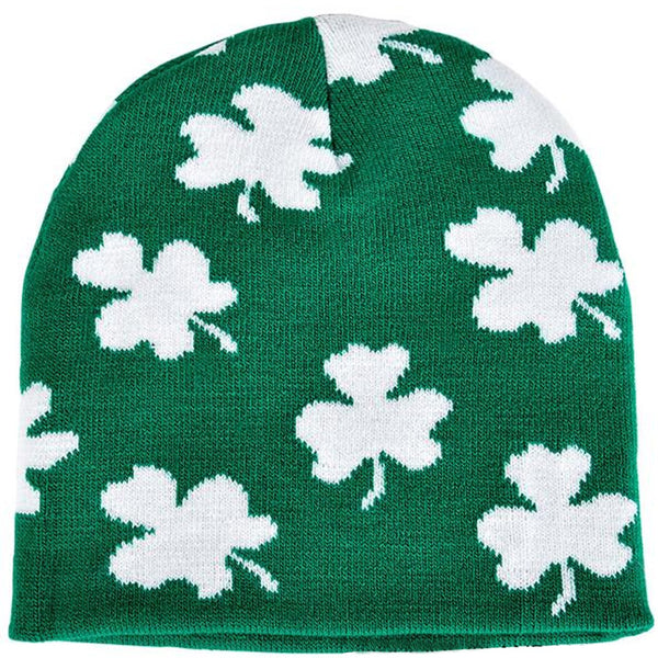 St Patrick's Day Shamrocks All Over Beanie Hat