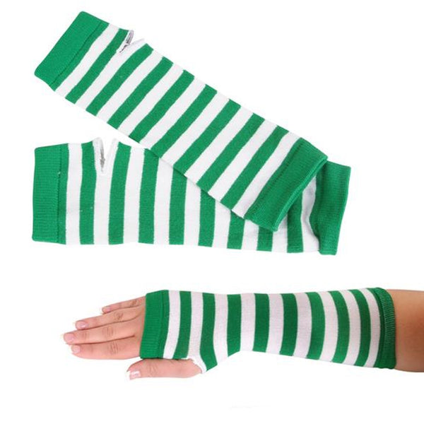 St Patrick's Day Green And White Stripe Arm Warmers