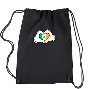 Ireland Flag Cartoon Hands Drawstring Backpack