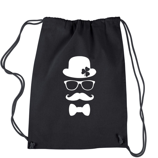 Derby, Mustache and Shamrock Drawstring Backpack