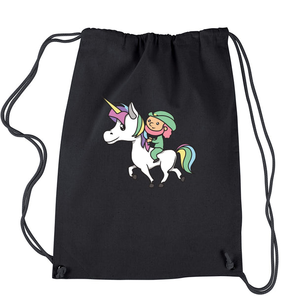 Leprechaun Riding A Unicorn Drawstring Backpack