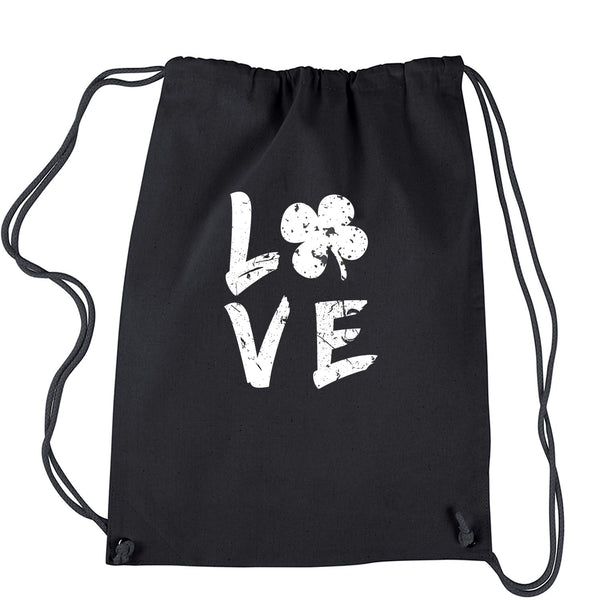 Love Shamrock Clover Drawstring Backpack