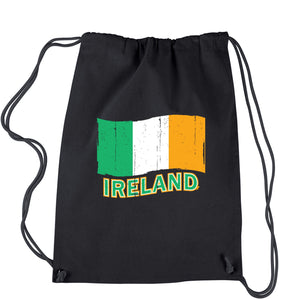 Ireland Distressed Flag Drawstring Backpack