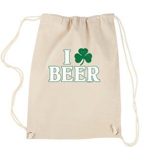 I Shamrock Beer St. Paddy's Day Drawstring Backpack