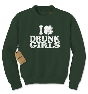 I Love Drunk Girls Shamrock Adult Crewneck Sweatshirt