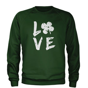 Love Shamrock Clover Adult Crewneck Sweatshirt