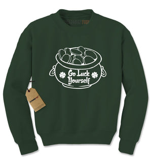 Go Luck Yourself Irish Pot Of Gold Adult Crewneck Sweatshirt