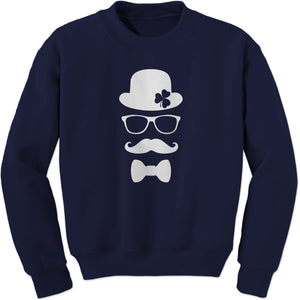 Derby, Mustache and Shamrock Adult Crewneck Sweatshirt