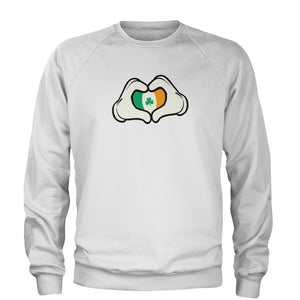Ireland Flag Cartoon Hands Adult Crewneck Sweatshirt