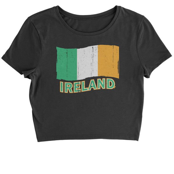 Ireland Distressed Flag Cropped T-Shirt