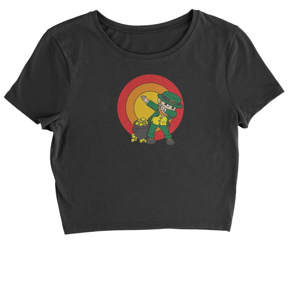 Dabbing Leprechaun Rainbow Cropped T-Shirt