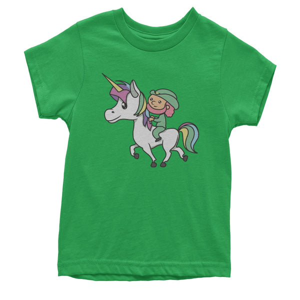 Leprechaun Riding A Unicorn Youth T-shirt