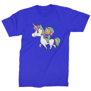 Leprechaun Riding A Unicorn Mens T-shirt