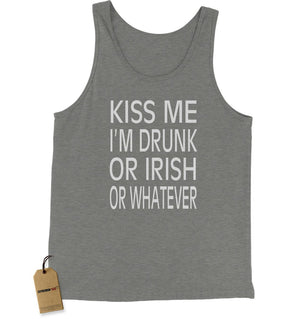 Kiss Me I'm Drunk Or Irish Jersey Tank Top for Men
