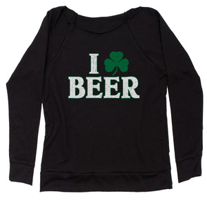 I Shamrock Beer St. Paddy's Day Slouchy Off Shoulder Oversized Sweatshirt