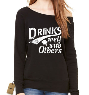 Drinks Well With Others Slouchy Off Shoulder Oversized Sweatshirt