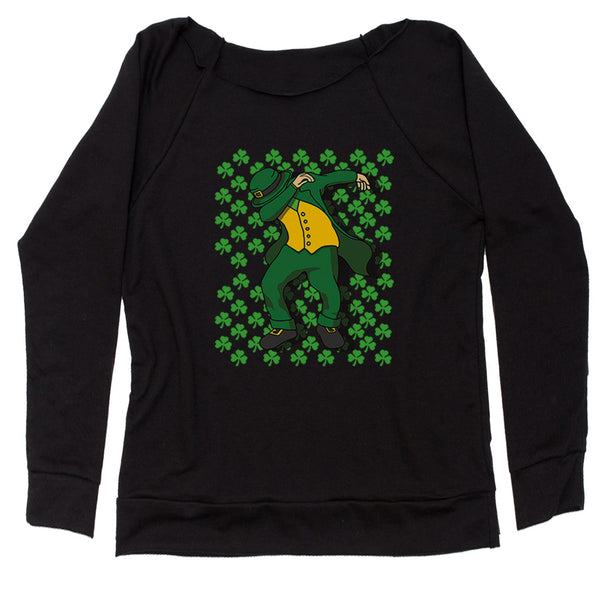 St Patricks Day Dab Slouchy Off Shoulder Oversized Sweatshirt