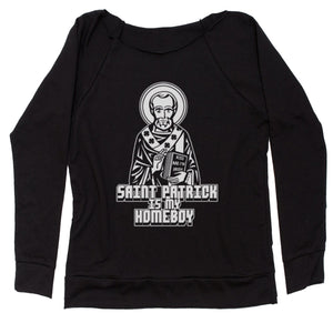St. Patrick Is My Homeboy Slouchy Off Shoulder Oversized Sweatshirt