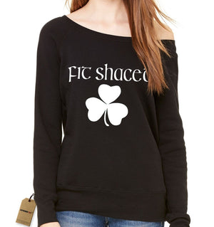 Fit Shaced Shamrock St. Patrick's Day Slouchy Off Shoulder Oversized Sweatshirt