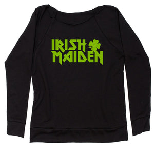 Irish Maiden ShamRocker Slouchy Off Shoulder Oversized Sweatshirt