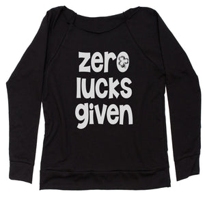 Zero Lucks Given St Paddy's Day Slouchy Off Shoulder Oversized Sweatshirt