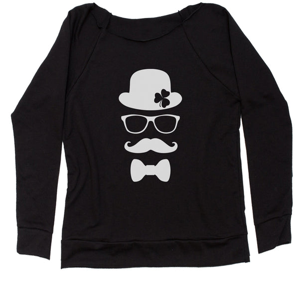 Derby, Mustache and Shamrock Slouchy Off Shoulder Oversized Sweatshirt