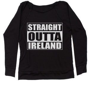 Straight Outta Ireland Slouchy Off Shoulder Oversized Sweatshirt