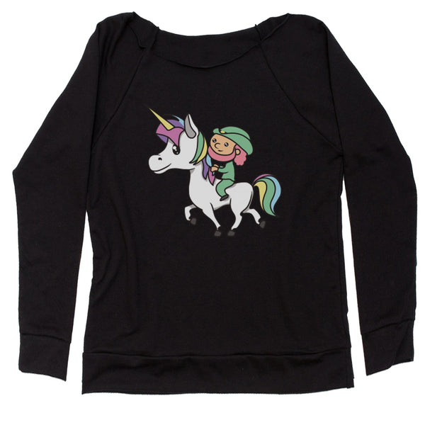 Leprechaun Riding A Unicorn Slouchy Off Shoulder Oversized Sweatshirt