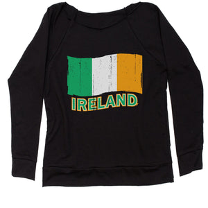 Ireland Distressed Flag Slouchy Off Shoulder Oversized Sweatshirt