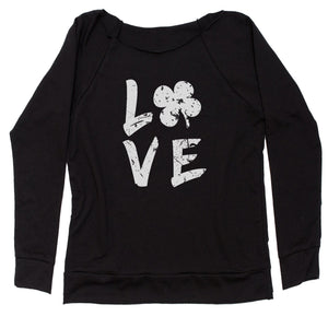 Love Shamrock Clover Slouchy Off Shoulder Oversized Sweatshirt