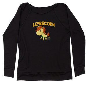 Leprecorn Unicorn Leprechaun Slouchy Off Shoulder Oversized Sweatshirt