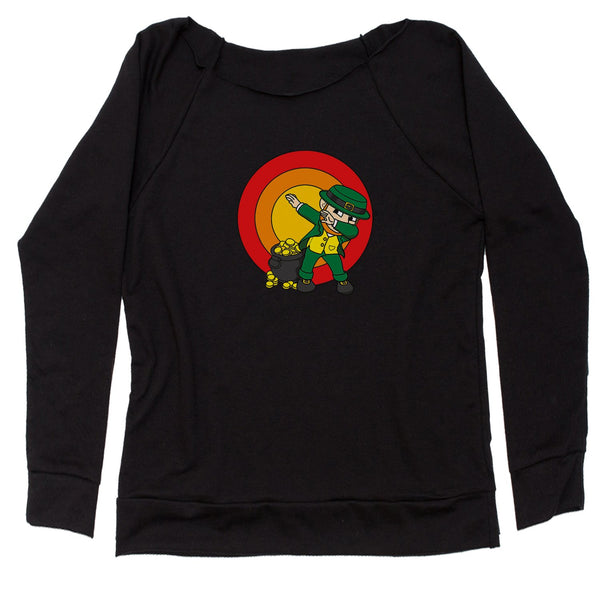 Dabbing Leprechaun Rainbow Slouchy Off Shoulder Oversized Sweatshirt