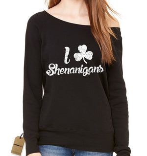 I Love Shenanigans Clover Slouchy Off Shoulder Oversized Sweatshirt