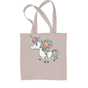 Leprechaun Riding A Unicorn Shopping Tote Bag