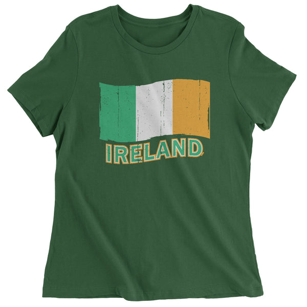 Ireland Distressed Flag Womens T-shirt