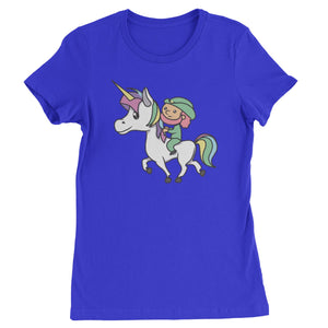 Leprechaun Riding A Unicorn Womens T-shirt