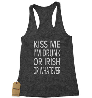 Kiss Me I'm Drunk Or Irish Racerback Tank Top for Women
