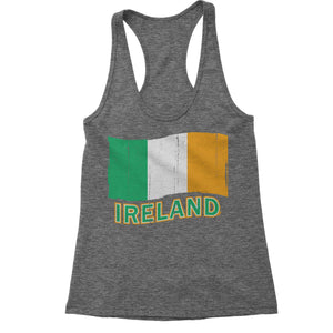 Ireland Distressed Flag Racerback Tank Top for Women