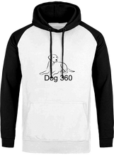 Load image into Gallery viewer, Arctic white and black dog 360 hoodie