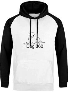 Arctic white and black dog 360 hoodie