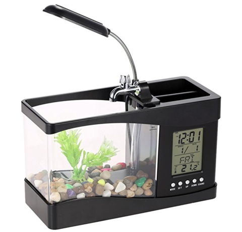 USB Desktop Aquarium with LED Clock