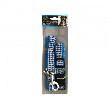 blue stripe collar and leash pet set made from premium nylon